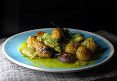 Roast Baby New Potato, King Prawn in a Green Pesto sauce and Red Onion (Tony Worrall) Tags: add tag ©2018tonyworrall images photos photograff things uk england food foodie grub eat eaten taste tasty cook cooked iatethis foodporn foodpictures picturesoffood dish dishes menu plate plated made ingrediants nice flavour foodophile x yummy make tasted meal nutritional freshtaste foodstuff cuisine nourishment nutriments provisions ration refreshment store sustenance fare foodstuffs meals snacks bites chow cookery diet eatable fodder