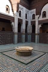 MADRASA, MEDINA, MEKNES, MOROCCO (Nevena Janjic) Tags: madrasa windows wooden tile fountain medina meknes morocco