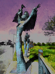 Witchcraft (Steve Taylor (Photography)) Tags: art digitalart sculpture park odd strange weird metal lady woman newzealand nz southisland canterbury christchurch tree texture busstop cabbagetree currents eddie summon witch black blue mauve green grey witchcraft