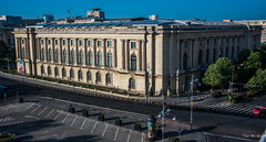 2018 - Romania - Bucharest - National Museum of art of Romania (Ted's photos - For Me & You) Tags: 2018 bucharest nikon nikond750 nikonfx romania tedmcgrath tedsphotos vignetting nationalmuseumofartofromania romaniaroyalpalace caleavictorei streetscene street building oldbuilding bollards