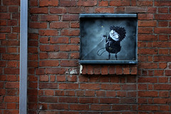 Opposites. Little and large (PentlandPirate of the North) Tags: graffiti streetart manchester northernquarter cartoon naughty urban scissorhands houldsworthstreet