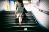 Chateau d'eau (Calinore) Tags: paris france metro subway stairs escaliers woman femme redshoes chaussuresrouges chaussures escarpins dress robe ratp