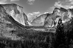 How Ansel may have envisioned it (wjw0608) Tags: valley mountains waterfall blackandwhite elcapitan halfdome bridalveilfall yosemitevalley yosemitenationalpark california summer park