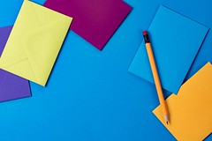 Pencil and Envelopes - Credit to https://bestpicko.com/ (Bestpicko) Tags: pencil envelopes colors blue yellow red desk