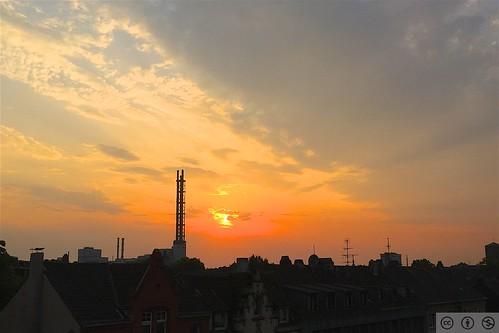 Sunset over Duisburg, DE.