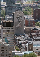 Leonard (Karen_Chappell) Tags: city building travel quebec montreal architecture art mural leonardcohen buildings urban canada