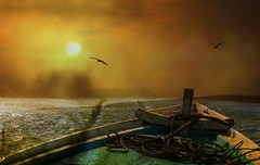 """""""The boat is safer anchored at the port.... (scinta1) Tags: bali digitaleffects transformation filters sunset waves mountain rope orange two dark intense rough sea bow"""