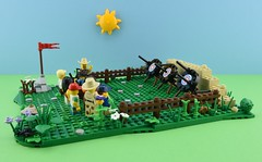 LEGO Summer camp part 2 : Archery 1/4🎯 (Alex THELEGOFAN) Tags: lego legography minifigure minifigures minifig minifigurine minifigs minifigurines moc vignette target arrow archery green summer camp people holiday holidays camping vegetation brown tan bush flowers kids wood vacation