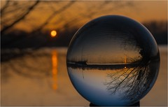 "Sunrise at Altrhein (rockheadz) Tags: ""sonyalpha6300"" wasser water sonnenaufgang sunrise landschaft landscape river fluss glaskugel glasball altrhein"