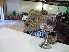 Anuvver glass of the 'ouse red, parakalo! 49/51 (pefkosmad) Tags: tedricstudmuffin teddy ted bear holiday holibobs animal cute toy cuddly soft stuffed fluffy plush pefkos pefki pefkoi rhodes rodos greece greekislands griechenland hellas stellahotel
