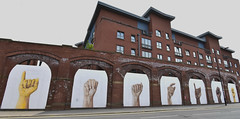 show of hands (Harry Halibut) Tags: allrightsreserved 2018©andrewpettigrew imagesofsheffield images sheffieldarchitecture sheffieldbuildings colourbysoftwarelaziness sheffield south yorkshire publicartinsheffield public art streetart graffiti murals sheff1805268654 showofhands shoreham street tram depot bus garage 1910 tramway 18thcentury ledmill arches hands fists fingers student accommodation block apartments flats