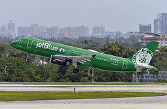 JetBlue Boston Celtics (Infinity & Beyond Photography) Tags: jetblue boston celtics sports team themed logo plane aircraft airbus a320 fll fort lauderdale airport skyline