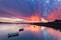 Fiery Findhorn (Stoates-Findhorn) Tags: 2018 findhorn colours sunset bay reflections scotland boats village moray clouds unitedkingdom gb