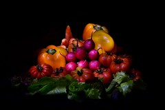 Vegetables on black background (tamara_borgianini) Tags: fresh healthy nutrition ripe black background market concept organic detox detoxification abundance appetizing conceptual different foods natural product space studio super vegetable ingredients bio dieting eating gastronomy highres many resolutions seasonal valuable various veggies pepper yellow carrot orange tomato radish rose dietfood bulgarian light painting isolated stillife raw red salad