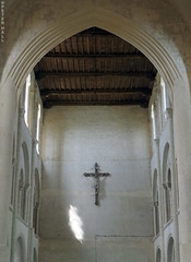 Abbey Wall (peterphotographic) Tags: olympus em5mk2 microfourthirds ©peterhall normandy normandie france p5210177edwm abbeyofsaintvigordecerisy cerisylaforêt abbeywall abbey wall church cross crucifix benedictine
