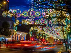 Hari Raya at Geylang Serai (BP Chua) Tags: geylang geylagserai singapore decoration hariraya celebration festival lights colours bluehour twilight road street olympus trails ligthtrail car