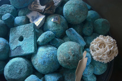 things under glass (graeme37) Tags: copper oxidisedcopper ivoryball chinafragments