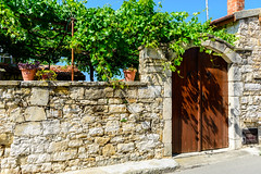 The Main Gate (George Plakides) Tags: stone wall vernacular architecture lofou grapevine sky blue flower pots gate entrance wooden door