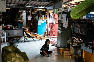 Monk napping in office, Wat Kukam, Chiang Mai