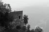 Sea Bastion (ianflagg) Tags: houses sea seaside hills cliff bw black blackandwhite blackwhite tree trees trekking nature italy europe eos m monochrome mountains