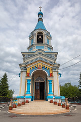 Church of the Kazan Icon of the Mother of God. (Oleg.A) Tags: ancient old penzaregion russia church cloudy cathedral brick city outdoor bell materials kuznetsk clouds dome countryside summer exterior yellow blue sky evening orthodox style design cross town village architecture white catedral outdoors penzenskayaoblast ru