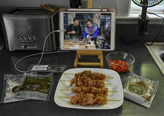 Prepping The Food (Happy Autumnal Equinox!!!) Tags: theflickrlounge wk24 foodanddrink greencheforganicmeals 11 moroccanchickenkababs ipadpro plate chicken kabobs ingredient packets dressing pepper red inthekitchen foodprep