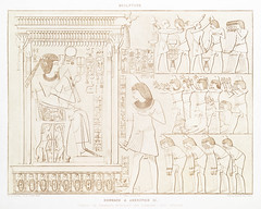 Tribute to Amenhotep III from Histoire de l'art égyptien (1878) by Émile Prisse d'Avennes (1807-1879). Digitally enhanced by rawpixel. (Free Public Domain Illustrations by rawpixel) Tags: egyptian otherkeywords amenhotepiii anillustrationoftheegyptian ancient ancientegyptian ancientegyptianart antique archaeological archeology architecture art carving cc0 chamhati design designing drawing dynasty egypt egypttribute egyptiankingdom egyptianstructures egyptien egyptology empire gods handdrawn histoiredelartégyptien historical history illustration mythology nnubianchiefs old oldfashioned outlines outlinesfromtheantique pattern pharao psd publicdomain romans sepia sketch steward story symbol tomb traditional tribute vintage émileprissedavennes