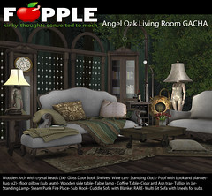 Angel Oak Living Room GACHA (Fapple BDSM Furniture) Tags: fapple pocketgacha angeloakset secondlife homedecor livingroom sofa bdsm femdom maledom gacha