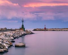 Colored sunset. (masdamb) Tags: landscape paesaggio sunset tramonto clouds colori colors nuvole mare sea seascape port lighthouse canon 6d ef70200mmf4lusm lee leefilters abruzzo italy giulianova