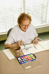 Stock Images (perfectionistreviews) Tags: color indoors retirementhome aging mature adult woman female elderly paint painting activity smiling vertical watercolor senior person art recreation assistedliving 80plusadult hobby leisure onepersononly halflength elderlywoman caucasian senioradult photograph smile seniorcitizen lifestylesandart