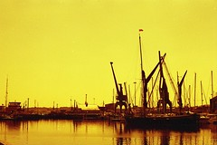 (von8itchfisk) Tags: redscale 35mm kodak kodacolour analog analogphotography ishootfilm film filmisnotdead boat ipswich docks reflection sailingbarge olympus om1 vonbitchfisk expiredfilm