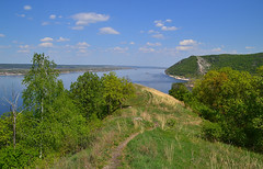 Mogutova mount (МирославСтаменов) Tags: russia zhiguli togliatti path sky cloudscape meadow edge forest broadleaved oak maple elm birch volga river