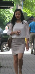 IMG_1216 (daboogieman) Tags: street downtown woman asianwoman skirt phone bag flats