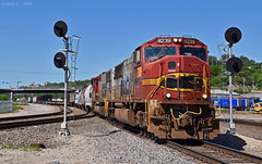 "Southbound Transfer in Kansas City, MO (""Righteous"" Grant G.) Tags: prlx progress rail atsf santa fe emd bnsf kcs railroad railway locomotive trains south southbound transfer freight yard job signal kansas city missouri"