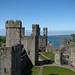 Caernarfon Castle - Queen's Gate - view of Black Tower, Chamberlain Tower, Eagle Tower, Well Tower and King's Gate