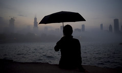 City fog (Kevin Casey Fleming) Tags: fog umbrella sunset chicago character woman silhouette sitting water lake new nikon dark surreal building buildings landscape mist mists vaper