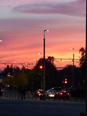 Evening Lights (Sysli) Tags: sky orange sunset lampposts streetlights romania cluj