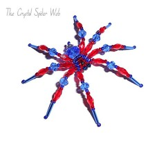 red & blue spiderman (CrystalSpiderWeb) Tags: crystal spider magnet unique handcrafted sparkle beauty creepy kathscritterznthings thecrystalspiderweb fun novelty tarantula bugs insects scary shiny bling jewellery jewel