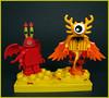 Fire Demon Buddies (Karf Oohlu) Tags: lego moc couple minifig oddity firedemon winged crustacean