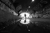 Graffiti tunnel next to Shoreditch High Street Station (Luke Agbaimoni (last rounds)) Tags: london tunnel tunnelvision reflection rain blackandwhite monochrome