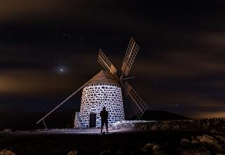 Windmil at night.