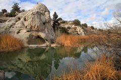 Gunlock Pond (arbyreed) Tags: arbyreed pond water lake gunlockpond washingtoncountyutah rock weeds sky