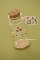 We look beautiful together,Tiny message in a bottle,Miniature,Personalised Gift,Love Card,Valentine Card,Gift for her/him,Girlfriend gift, birthday card, funny card and message card ideas (charles fukuyama) Tags: sheep couple weddingcard lovecard greetingcard holidaycard tiny miniaturescard glitter cuteanimals unique partygift bottle deskdecor decoration kikuike
