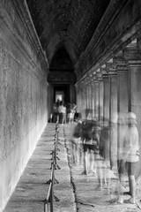 Walking through Angkor Wat (Phu Jaitrong) Tags: cambodia siem reap temple temples long hall bw exposure movement pillars