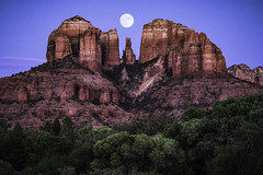 Cathedral-Rock-with-Moon-1-2 (mcook1517) Tags: sedona arizona travel tourism rocks moon sky longexposure trees color southwest geography historic redrocks landscape sigmaartlens 135mm