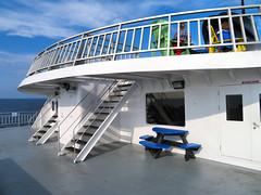 Ferry, Georgian Bay, Ontario, Canada (duaneschermerhorn) Tags: ferry boat ship deck bench table emptyseat empty railing water sky blue clouds white