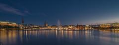 Skyline Hamburg Binnenalster (schda22) Tags: hamburg binnenalster skyline bluehour blauestunde dämmerung langzeitbelichtung longexposure water lake canon lights