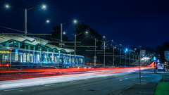 stonestown muni platform (pbo31) Tags: bayarea california nikon d810 color may 2018 boury pbo31 urban city sanfrancisco lightstream motion traffic roadway infinity muni platform stonestown parkmerced 19th motionblur tram streetlights bluehour blue