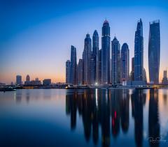Dubai early morning (Siebring Photo Art) Tags: cayantower dubai dubaimarina dubaiskyline emirates uae mirrorimage skyline sunrise verenigdearabischeemiraten ae