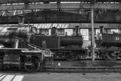 Didcot Railway Centre locomotive shed (Dai Lygad) Tags: locomotives engines railroads railways trains depot shed didcotrailwaycentre blackandwhite